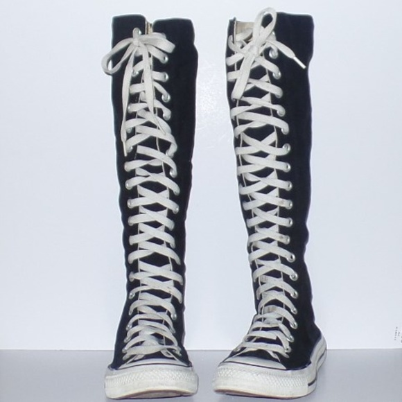 Black Knee High Converse Zip Lace UP 8